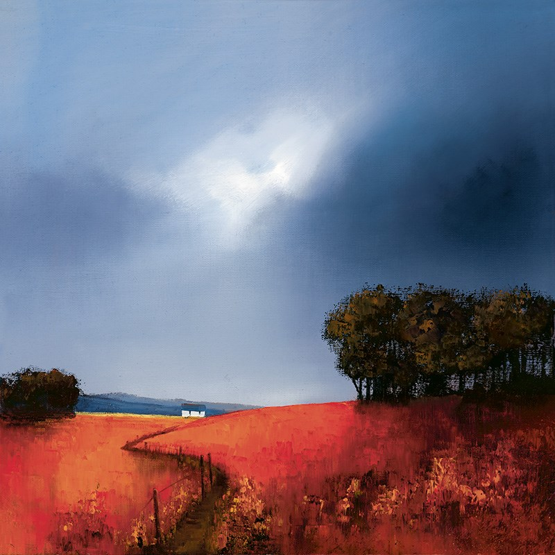Crimson Fields of Home by Barry Hilton - Hand Finished Canvas on Board sized 18x18 inches. Available from Whitewall Galleries